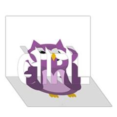 Purple transparetn owl GIRL 3D Greeting Card (7x5)