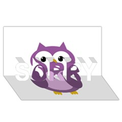 Purple transparetn owl SORRY 3D Greeting Card (8x4)