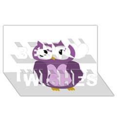 Purple transparetn owl Best Wish 3D Greeting Card (8x4)