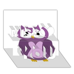 Purple transparetn owl Miss You 3D Greeting Card (7x5)