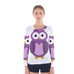 Purple transparetn owl Women s Long Sleeve Tee