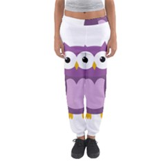 Purple transparetn owl Women s Jogger Sweatpants