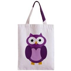 Purple transparetn owl Zipper Classic Tote Bag