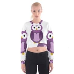 Purple Transparetn Owl Women s Cropped Sweatshirt
