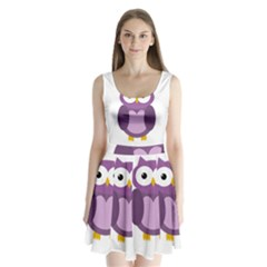 Purple transparetn owl Split Back Mini Dress