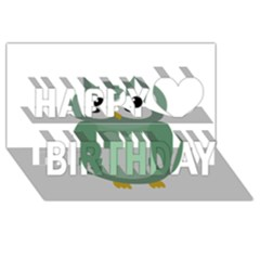 Green cute transparent owl Happy Birthday 3D Greeting Card (8x4)