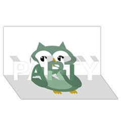 Green cute transparent owl PARTY 3D Greeting Card (8x4)