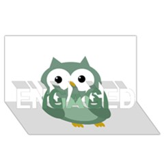 Green cute transparent owl ENGAGED 3D Greeting Card (8x4)