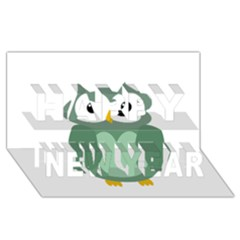 Green cute transparent owl Happy New Year 3D Greeting Card (8x4)