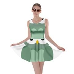 Green cute transparent owl Skater Dress