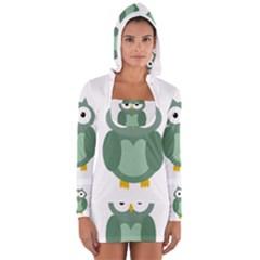 Green cute transparent owl Women s Long Sleeve Hooded T-shirt