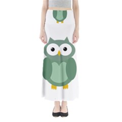 Green Cute Transparent Owl Maxi Skirts