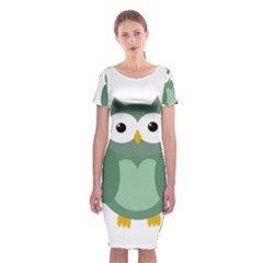 Green cute transparent owl Classic Short Sleeve Midi Dress