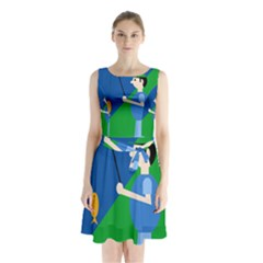 Fisherman Sleeveless Waist Tie Dress