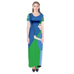 Fisherman Short Sleeve Maxi Dress