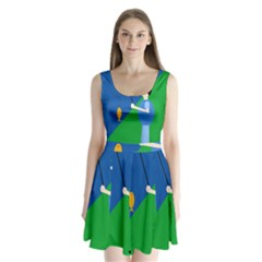 Fisherman Split Back Mini Dress