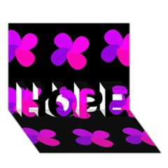 Purple flowers HOPE 3D Greeting Card (7x5)