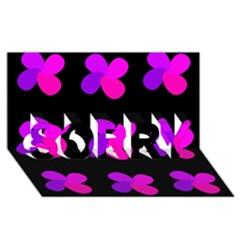 Purple flowers SORRY 3D Greeting Card (8x4)