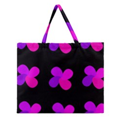 Purple flowers Zipper Large Tote Bag