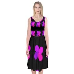 Purple flowers Midi Sleeveless Dress