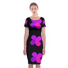 Purple flowers Classic Short Sleeve Midi Dress