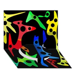 Colorful abstract pattern Circle Bottom 3D Greeting Card (7x5)