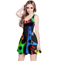 Colorful abstract pattern Reversible Sleeveless Dress