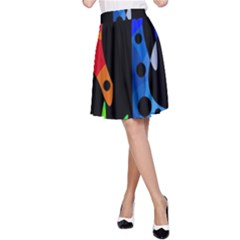 Colorful abstract pattern A-Line Skirt