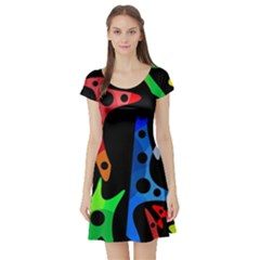 Colorful abstract pattern Short Sleeve Skater Dress