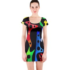Colorful abstract pattern Short Sleeve Bodycon Dress
