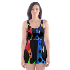 Colorful Abstract Pattern Skater Dress Swimsuit