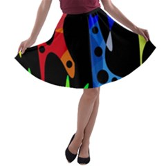 Colorful abstract pattern A-line Skater Skirt