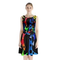 Colorful abstract pattern Sleeveless Waist Tie Dress