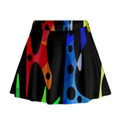 Colorful Abstract Pattern Mini Flare Skirt