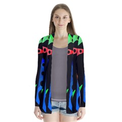 Colorful abstract pattern Drape Collar Cardigan