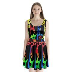 Colorful abstract pattern Split Back Mini Dress