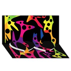 Colorful pattern Twin Heart Bottom 3D Greeting Card (8x4)