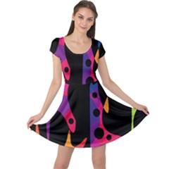 Colorful pattern Cap Sleeve Dresses