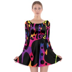 Colorful pattern Long Sleeve Skater Dress
