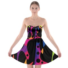 Colorful pattern Strapless Dresses