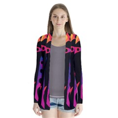 Colorful pattern Drape Collar Cardigan