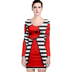 Red pawn Long Sleeve Bodycon Dress