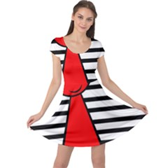 Red pawn Cap Sleeve Dresses