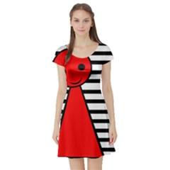 Red pawn Short Sleeve Skater Dress
