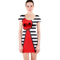 Red pawn Short Sleeve Bodycon Dress