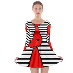 Red pawn Long Sleeve Skater Dress
