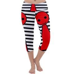 Red pawn Capri Yoga Leggings