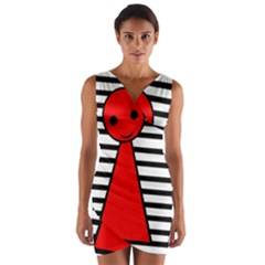 Red pawn Wrap Front Bodycon Dress
