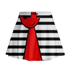Red Pawn Mini Flare Skirt
