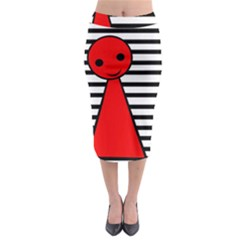 Red Pawn Midi Pencil Skirt